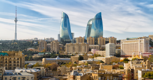 Panoramic view of Baku - the capital of Azerbaijan located by the Caspian See shore.