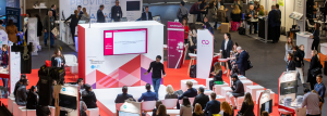 View of the IBTM Accelerate Stage 2019 with one of the participants pitching to the judges