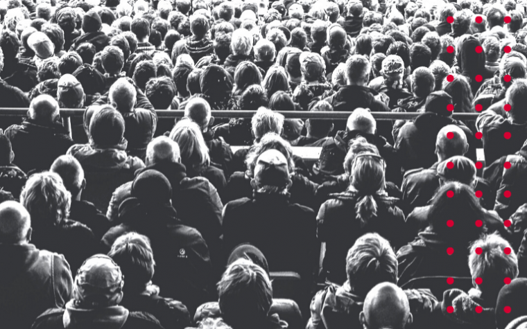 crowd of people in black and white